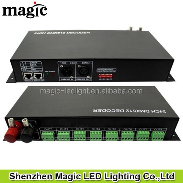 RGBW RGB 24 Channel DMX512 Decoder 24 channels dmx 512 controller for rgbw led strip