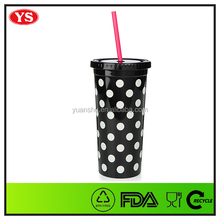 promotional 20oz bpa free plastic cold drink coffee tumbler with straw