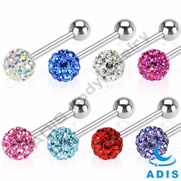 Factory wholesale piercing surgical steel woman loves printed logo tongue ring
