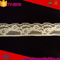 fancy and new design stretch nylon one side floral scalloped lace trim wholesale
