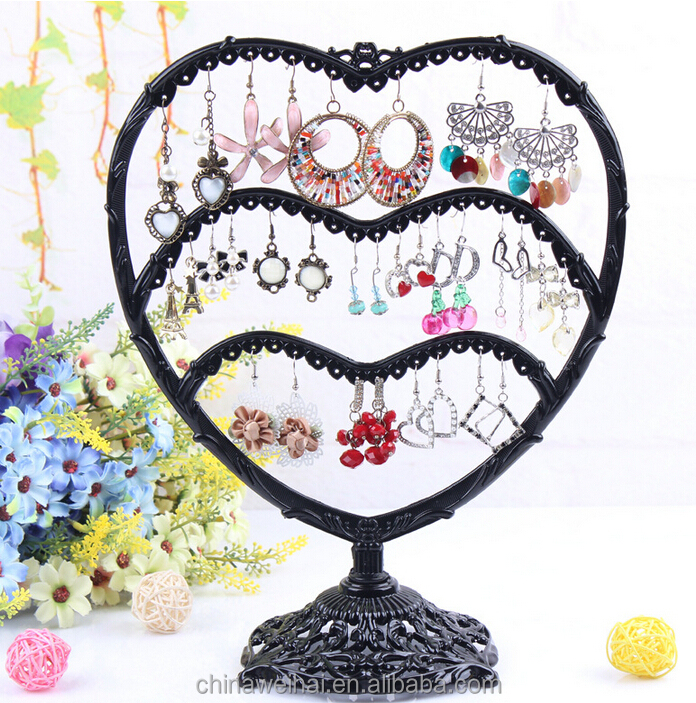 3 Floors Love-shape Iron Earring display racks Jewelry display stand