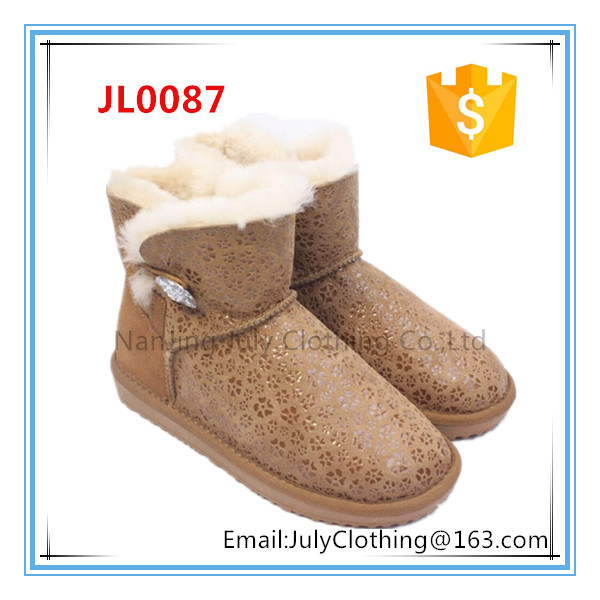 italian winter snow women boots with shiny pu upper