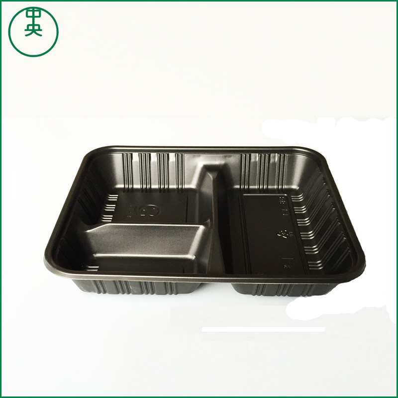Disposable plastic lunch box take away food packaging box with compartment