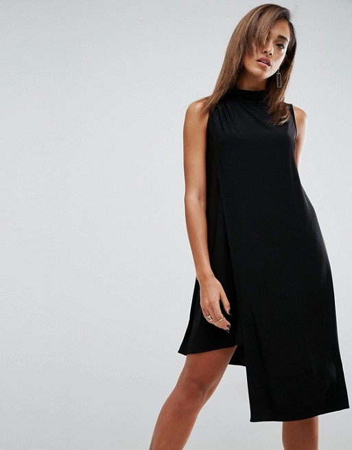 Hot Sale China Product High Neck Shift Dress With Asymmetric Hem