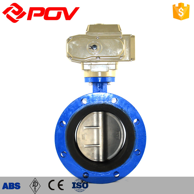ductile iron double flange electric actuated butterfly valve