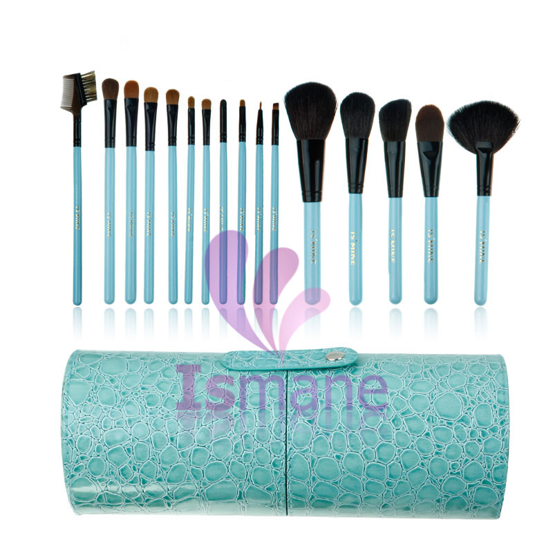 Luxury 16Pcs beauty high quality advanced crocodile leather cylindrical cosmetic brush set