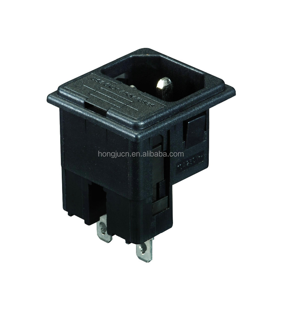 UL VDE Certificate AC Power socket with TWO FUSE HOLDER