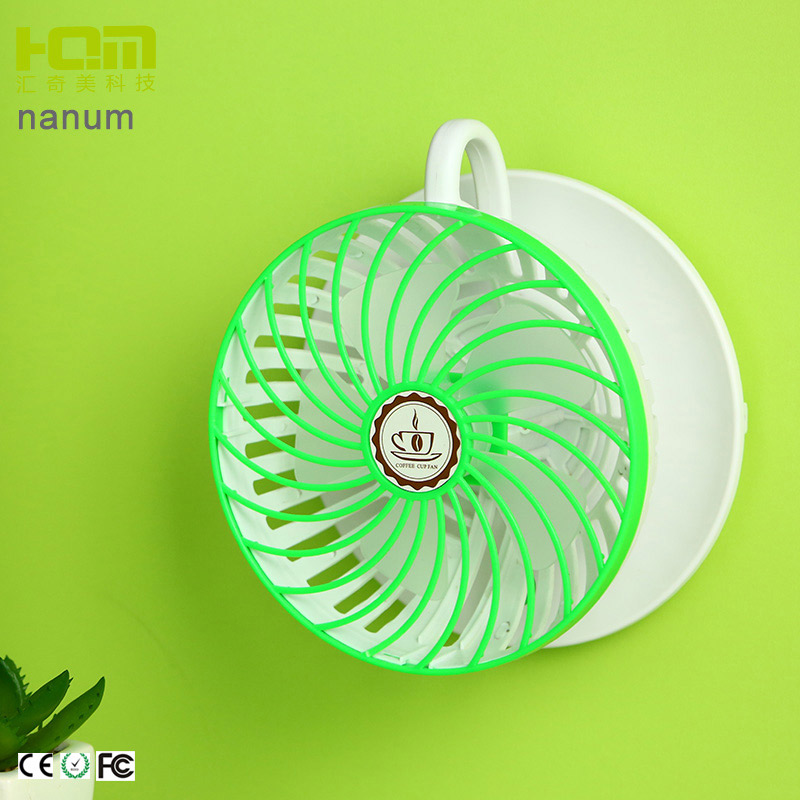 New Arrival Blue Travel Coffee Cup Shaped Tiny Oscillating Fan