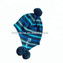 Wholesales colorful stripe knitted children winter pompon/beanie cap/hat