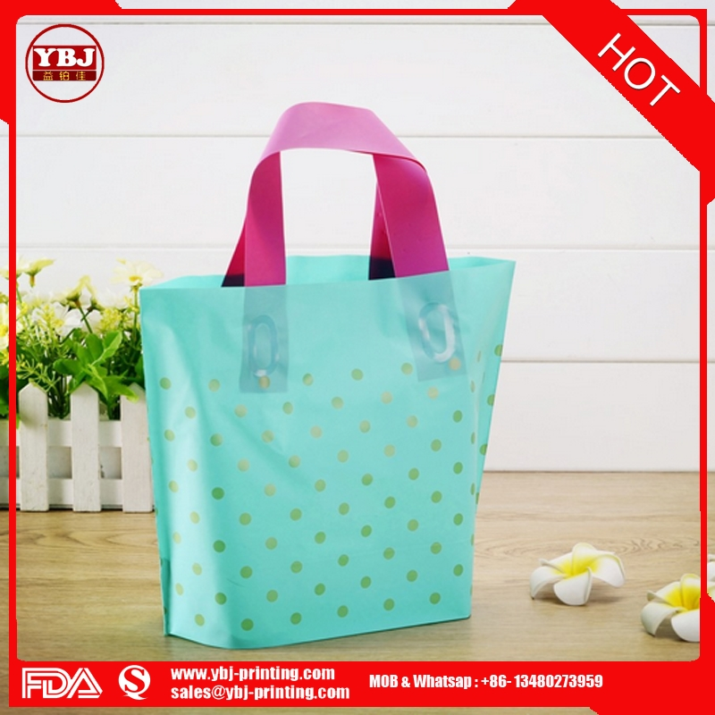 Green gold point frosted plastic bag handbag gift bag manufacturer