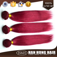 Factory on line hot selling fashion high quality 3 bundles red indian remy hair weave