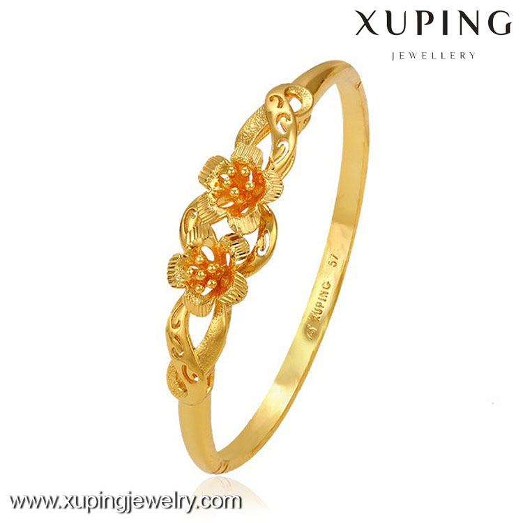 51249 Hot Sale Luxury Latest Model Girlish Flower Design Gold Bangle