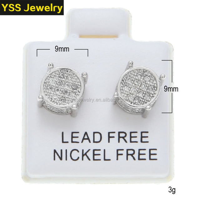 Hip-hop ice out jewelry gold plated earrings 925 silver High Quality earrings Whole sale Female jewelry earrings