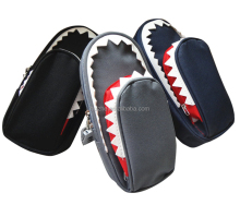 Two Compartments Canvas Sharks Pencil Case with Combination lock for Boys
