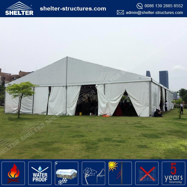 15-30m clear span UV-protection Rainproof Waterproof PVC fabric kiosk tent for park