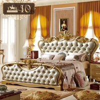 312# Modern double royal French baroque rococo king of big champagne gold buckle diamond leather bed dressing table