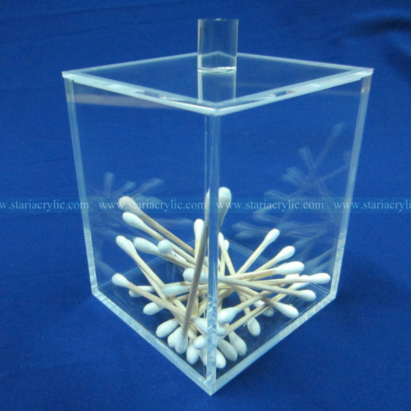 Square Factory Handmade Crystal Clear High quality Acrylic Cotton Swab Holder