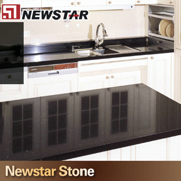 Factory Professional American Kitchen Black Galaxy Quartz Countertop