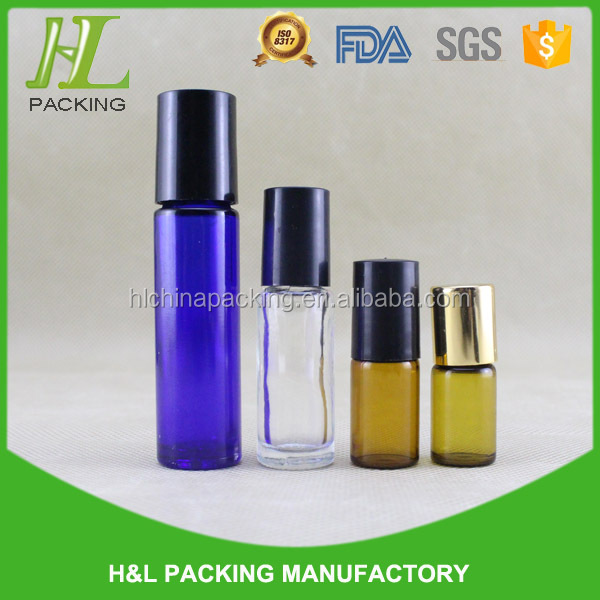 2ml 3ml 5ml 10ml clear amber blue roll on bottle with screw cap, glass roll on bottle for perfume