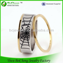 2013 new products stainless Steel Jewelry china manufacturer 2014 latest design gold ring for men spider web ring