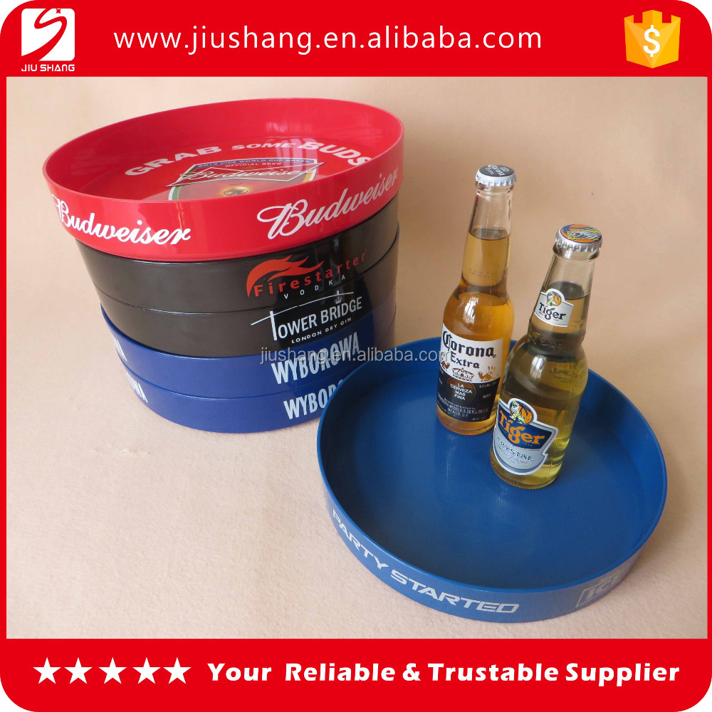 OEM logo plastic anti-slip coating serving tray