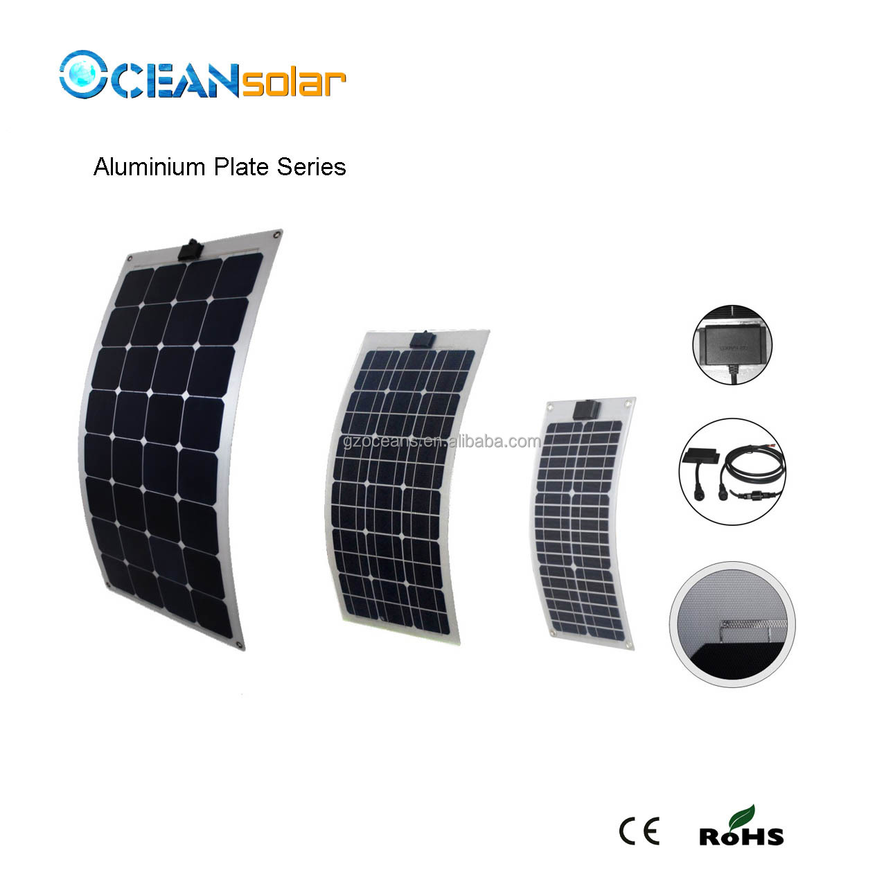 75W Semi Flexible Solar Panel thin solar panel power caravan/boat/golf cart solar panel wholesale from China