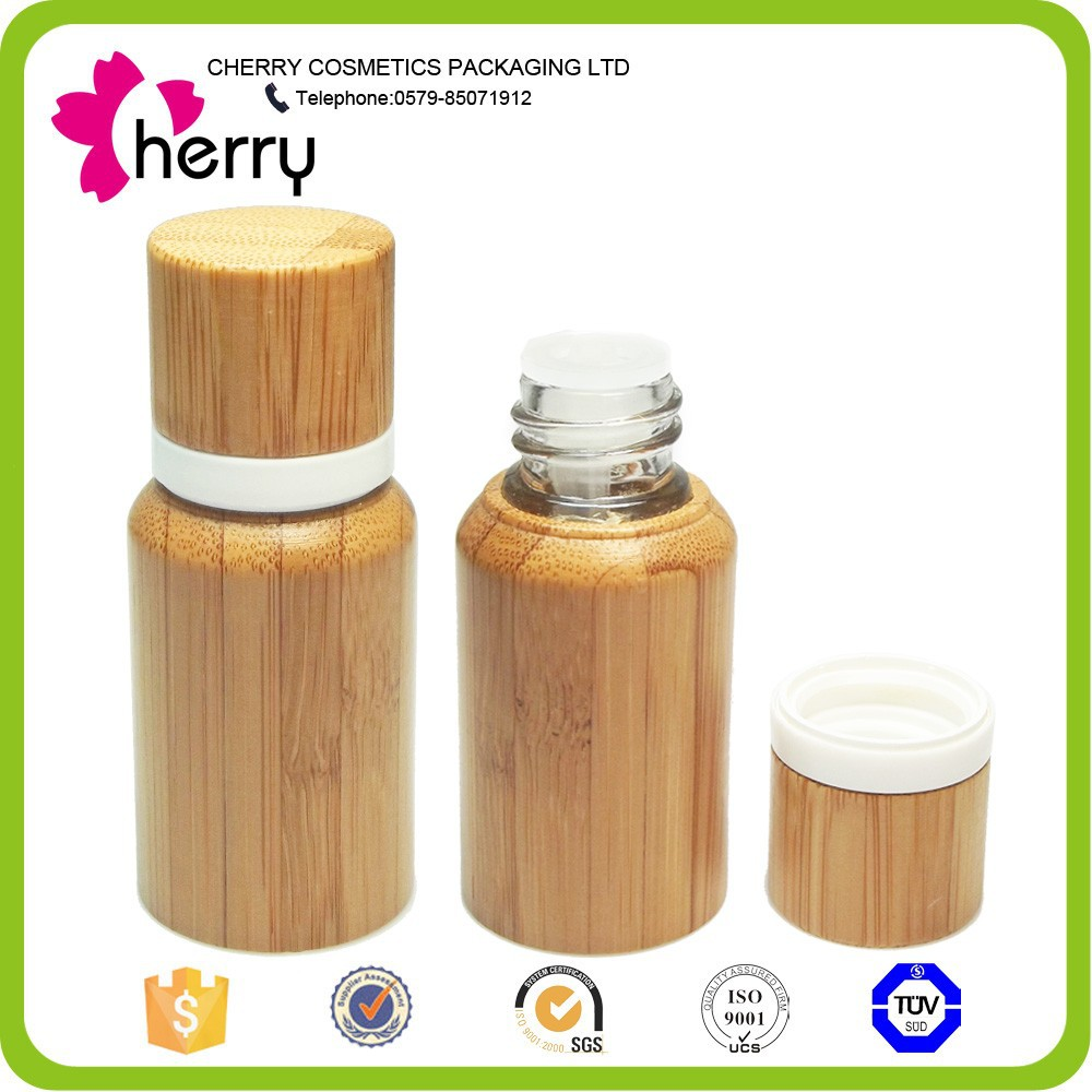 Natural wrapped bamboo oil glass bottle
