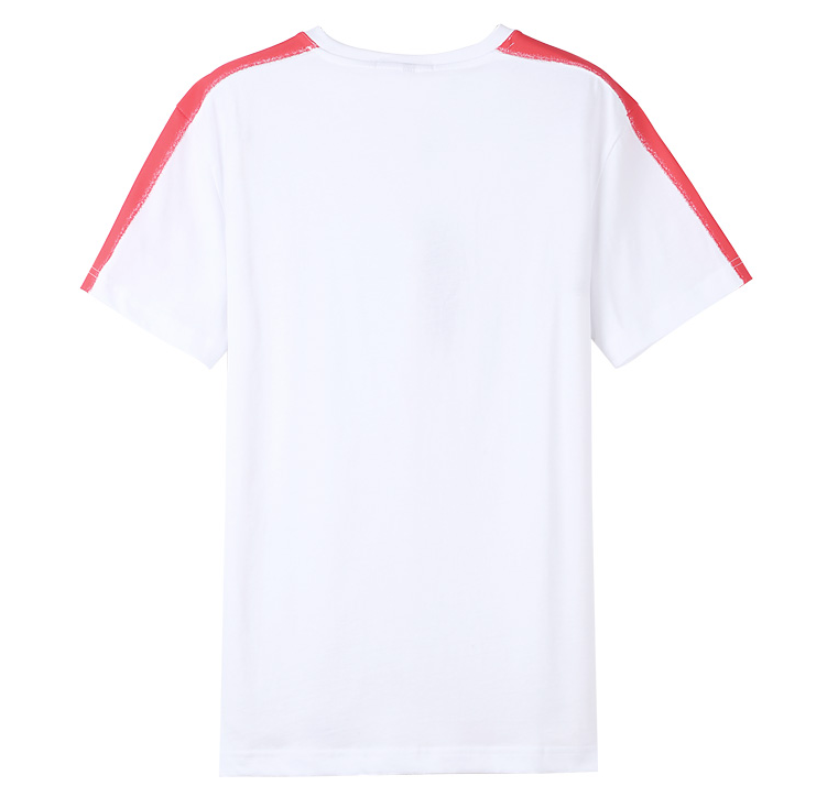 Showlands Shoulder Stripe Men's White Tops 100 Cotton Jersey T-Shirts
