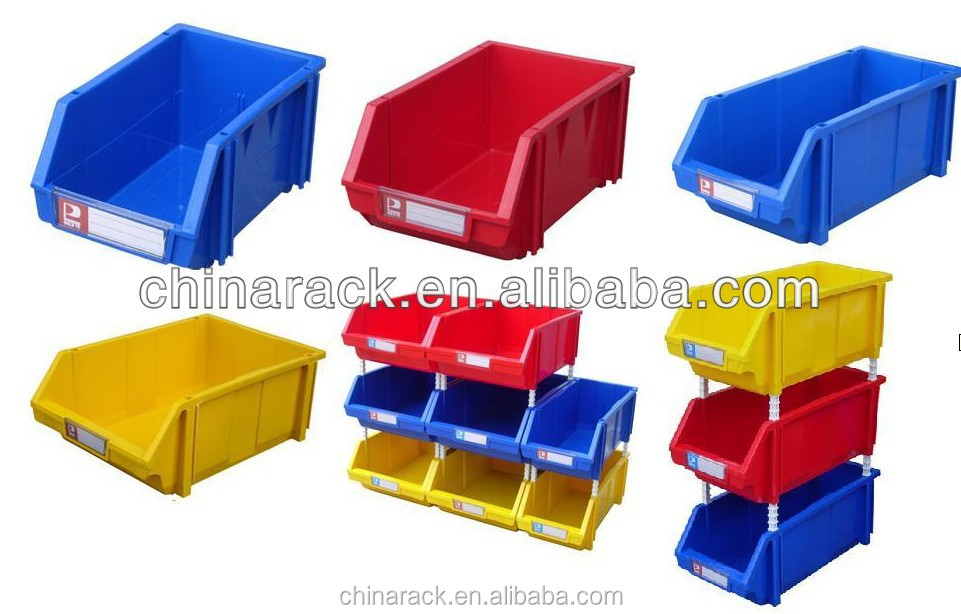 Plastic stacking storage bins
