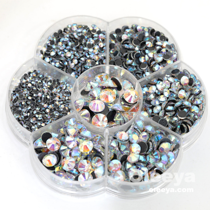 Oleeya wholesale glass light siam mixed sizes china glue dmc hot fix rhinestones with flower box in bulk for costumes