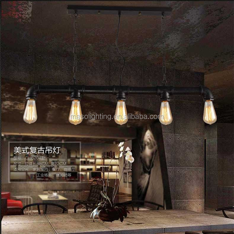 Water Pipe Loft Industrial Retro Suspension Light American Country style Vintage Edison Metal Pipe pendant lamp