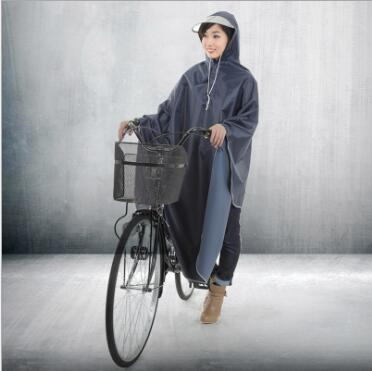 PVC 100% polyester adult bicycle rain poncho
