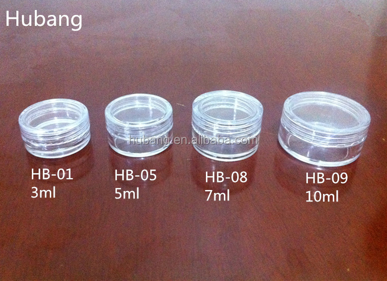 Hot sale cheap customized round 3 ml, 5 ml, 7 ml, 10 ml PS empty plastic cosmetic containers
