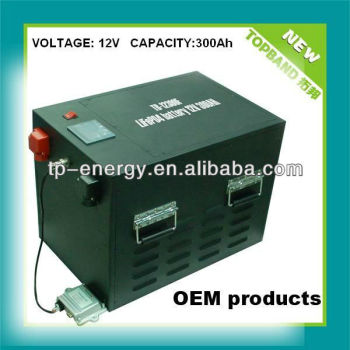 Smart Lithium DC12V300Ah Rechargeable Solar Battery Pack with BMS Protection
