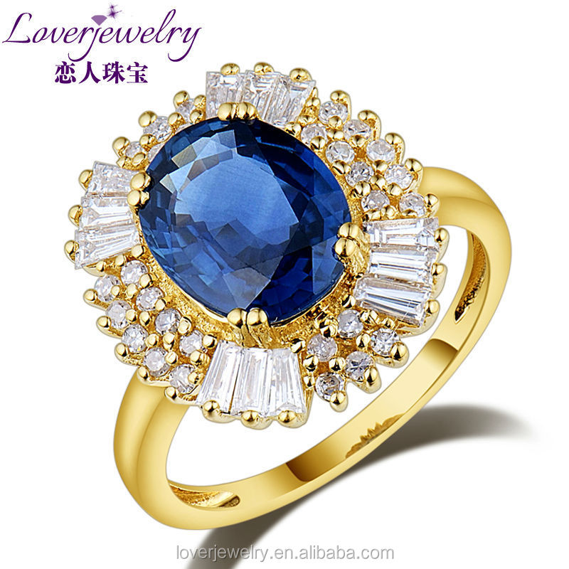 NEW Natural Blue Sapphire Ring Diamond Engagement Ring 14KT Yellow Gold 8x10mm