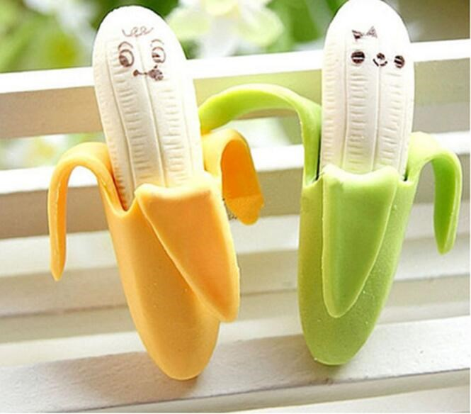 Mini Banana Shaped Pencil Erasers Cute Novelty Pen Rubber for Kids Gift School Stationery Wholesale