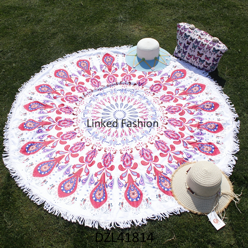 Latest Round Beach Towel Mandala Roundie Throw Blanket Beach, Large Round Beach Blanket for Family 60'
