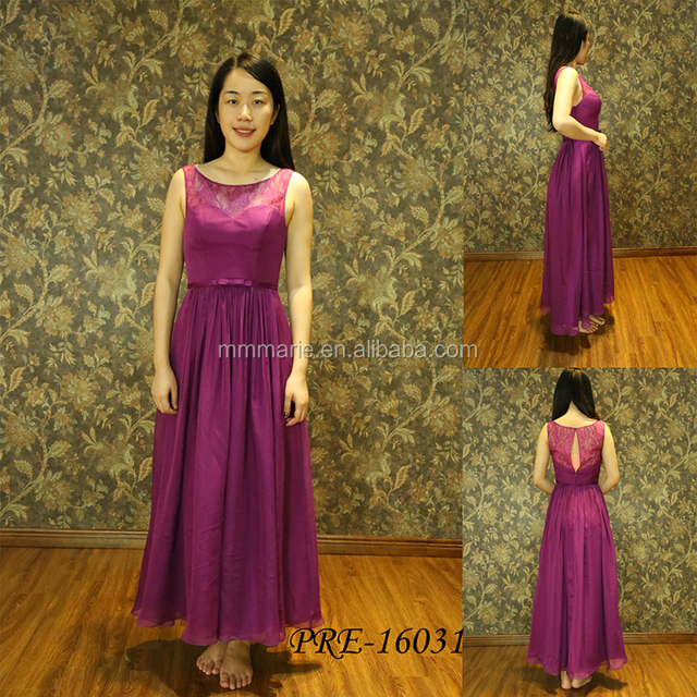 Sleeveless see through back Chiffon fuchsia Long Bridesmaid Dress Evening dress