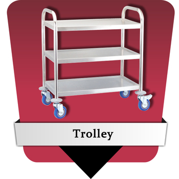 Stainless steel round tube 3-tier trolley