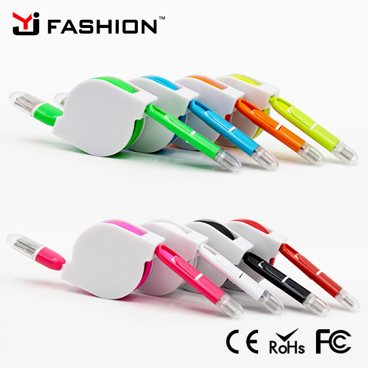 Retractable USB Data Sync Charger Cable Cord Wire with LED light For Samsung,HTC,Android,iPhone 6 Plus 5S 5 iPad