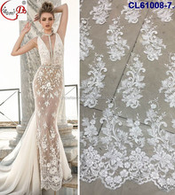 White elegant wedding lace fabric for women CL61008 wedding dress french lace