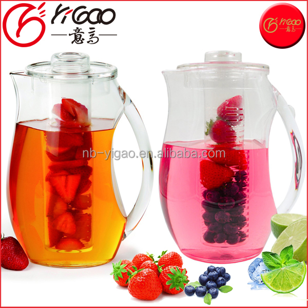 Shatterproof Acrylic 2.9 Quart Infuser Water Pitcher Fruit Infusion Flavor Pitcher with FREE Ice Core Rod