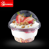 PET plastic transparent ice cream sundae cups