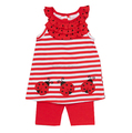 red and white ladybird applique summer short suits