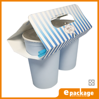 Customized Two Pack Paper Coffee Cup Carrier With Handle