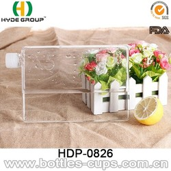 750Ml Portable Paper Flat Water Bottle , Tritan Clear A5 Bottles
