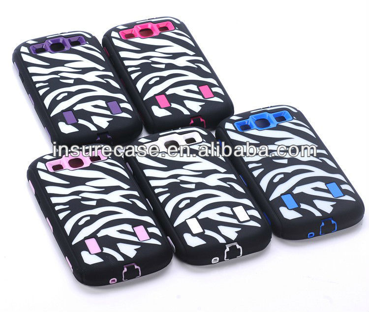 3in1 Hybrid Zebra Laser Carving Robot Protector Case For Samsung Galaxy S3 I9300(PC Silicon combo)