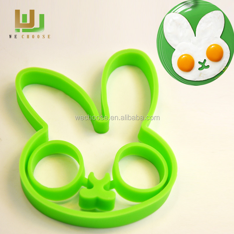 Wholesale cute rabbit silicone fried egg molds100% Food grade silicone egg rings