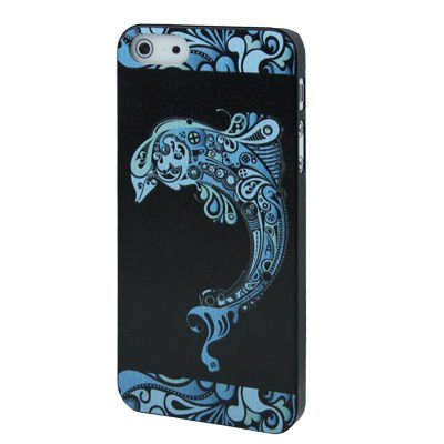 Lovely Dolphin Show Pattern Plastic Case for iPhone 5 (Black)