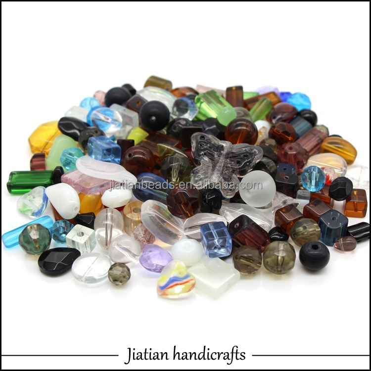 Mixed pressed glass beads wholesale for jewelry making